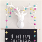 Felt Ball Garland  in Pink, Turquoise, Yellow, White (Black Cord)