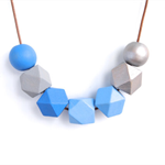 Blue Grey Silver Geometric Necklace - Hand Painted Wooden Beads Necklace