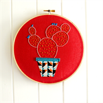 cactus love | hoop art | prickly pear | embroidered | red geometric