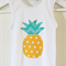 Fresh Bright Pineapple Applique on Cotton Stretchy Singlet