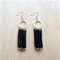BLACK COLOUR BASICS SIMPLE SILVER CIRCLES TASSEL EARRINGS - FREE SHIPPING