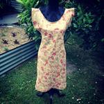 SAMPLE SIZE S Red/Gold Japanese Linen Dress