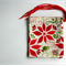 Christmas Fabric Gift Bags Set of 4 Poinsettia and Holly Green and Red