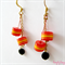 Red Orange Yellow short cylinder bead gold chain drop earrings