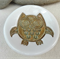 Brown and green owl porcelain ring dish, ring holder. Ceramic bowl.