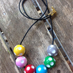 polka dotted beaded rainbow necklace