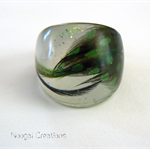 Green Feather Resin Ring for Christmas