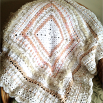 Shades of White, Cream and Apricot/Beige Textured Crochet Blanket/Lap rug/throw