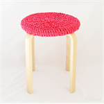 Pink ~ Thick Chunky Crochet Stool Cover Recycled T-Shirt Yarn Cozy Home Decor