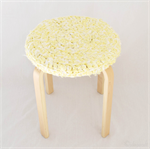 Yellow ~ Thick Chunky Crochet Stool Cover Recycled T-Shirt Yarn Cozy Home Decor