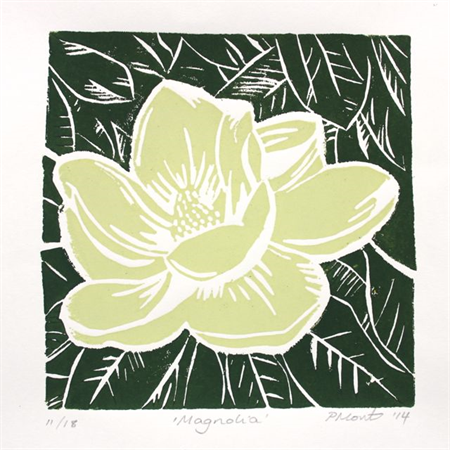 "Magnolia Bloom Hand-made Linocut Original Print 6""x6"""