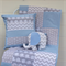 Baby Boy Blue and Grey Elephant Patchwork Cot Quilt