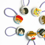 Pony Tail Holders - Set of 7 , Hair Button Elastic, Mixed Kawaii Dolls