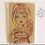 notebook , moleskin , original artwork cover, girl and owl