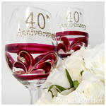 40th Anniversary Gift Set - Red Wine, White Wine or Champagne x 2