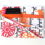 Pink and Orange Bird Design Wristlet Pouch Purse