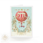Christmas card, I'll be home for Christmas, vintage hot air balloon