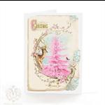 Christmas card, pink Christmas tree, deer, reindeer, holiday card