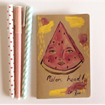 Watermelon notebook , moleskin , original artwork cover, melon head