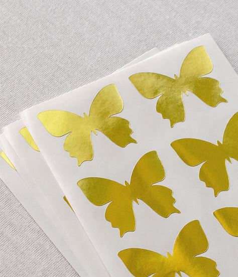 ... 24 Metallic Gold Butterfly Stickers, Gold Stickers, Butterfly Labels ...
