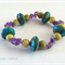 Turquoise and Amethyst Gemstone Bracelet semi precious