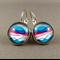 Cabochon Drop Earrings - Purple Waves