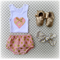 Gold Spot Bloomers & Singlet with Bow - Blush