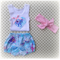 Unicorn Bloomers & Singlet with pink bow.