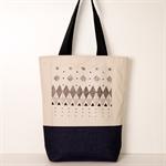 Travel Bag / Black screen print in Geometric design / Blue Denim bottom /Canvas