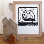 bear - bear driving car - original linocut print - more honey bear