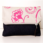 Screen printed / Flower Design Clutch / Pink on Cream Canvas
