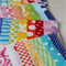 Postcard game - fabric postcards, stamps and pen in mail bag - bright rainbow