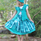 Turquoise green twirly skirt with tulle flower,twirly skirt,girls skirt