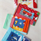 Postcard game - fabric postcards, stamps and pen in mail bag - bright vehicles