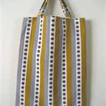 Mustard, olive, white floral and hatched print striped bag lined with calico