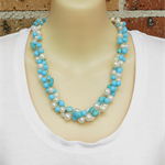 Turquoise Cream Crochet Wire Beaded Handmade Necklace by OOAK Necklace