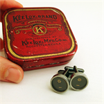 Typewriter-key cufflinks in vintage Keelox tin - black 'asterisk' keys