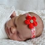 Christmas Headband, Red & White Flower, Newborn