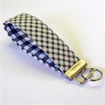 Wrist Key Fob - Polka dots on grey with navy blue check