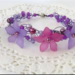Large Purple Lilac Pink Rose Crochet Cuff Bracelet Handmade OOAK by Top Shelf