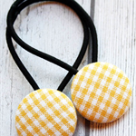 Yellow and White Check Hair Ties