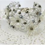 Cream Grey Bronze Crochet Wire Cuff Bracelet Handmade OOAK by Top Shelf