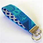 Wrist Key Fob - Brilliant Blue Pop Flowers with Polka Dots
