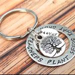 Teachers Plant Seeds Keyring Gift For Teacher Hand Stamped Keyring