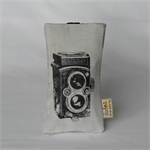 "printed glasses sleeve ""vintage camera"""