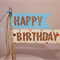 Happy Birthday Cake Poke/Cake Topper. Blue or Pink. Gold Glitter.