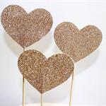 Large Glitter Love Heart Cake Pokes/Cake Toppers. Set of 3. Gold Glitter.