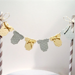 Cake Bunting/Cake Topper. Yellow/Grey Baby Onesie, Gender Neutral. Baby Shower.