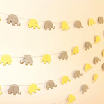 Paper Garland, Yellow and Grey Elephants. Baby Shower -1st Birthday Baby Nursery