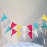 Cake Bunting/Cake/Cake Banner. Mint, Cream, Yellow, Hot Pink, Silver Glitter.